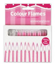 12 Pink Flame Candles